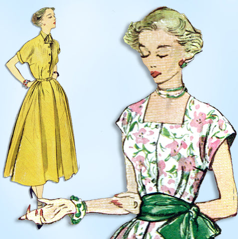 1940s Vintage Simplicity Sewing Pattern 2877 Uncut Misses Simple Dress Size 32 B