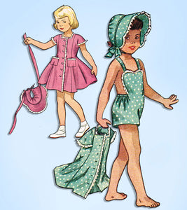 1940s Vintage Simplicity Sewing Pattern 2890 Baby Girls Sun