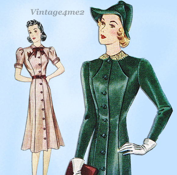 Simplicity 2894: 1930s Uncut Misses Princess Dress 35 B Vintage Sewing Pattern