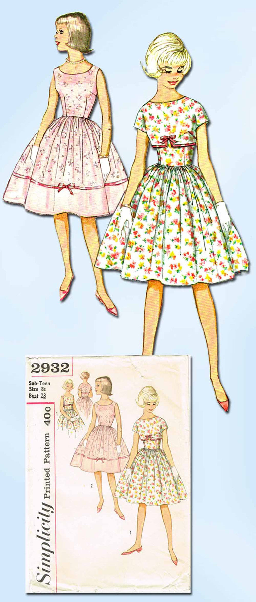 1950s Vintage Simplicity Sewing Pattern 2932 Sub Teen
