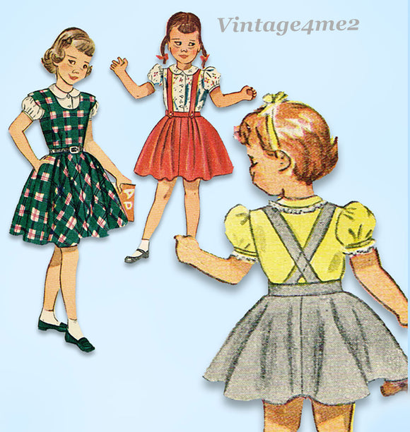 1940s Vintage Simplicity Sewing Pattern 2933 Toddler Girls Skirt Blouse Jumper Sz5
