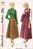 1940s Vintage Simplicity Sewing Pattern 2945 Uncut Misses Jumper Dress Size 34 B