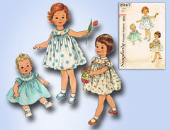 1950s Vintage Simplicity Sewing Pattern 2947 Baby Girls Sun Dress Size 1