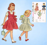 1940s Vintage Simplicity Sewing Pattern 2948 Toddler Girls Jumper Suit Size 2