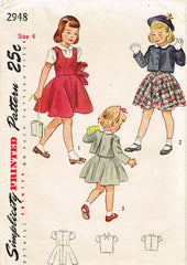 1940s Vintage Simplicity Sewing Pattern 2948 Toddler Girls Jumper Suit Size 4
