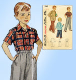 1940s Vintage Simplicity Sewing Pattern 2969 Toddler Boy's Slacks & Shirt Size 4