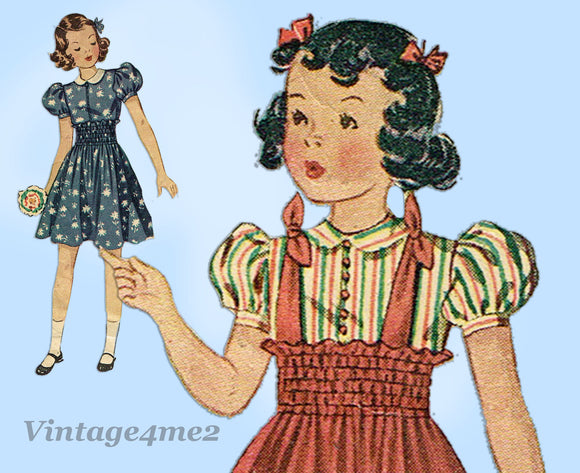 1930s Vintage Simplicity Sewing Pattern 2982 Little Girls Shirred Jumper Size 8 - Vintage4me2
