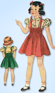 1930s Vintage Simplicity Sewing Pattern 2982 Toddler Girls Shirred Dress Size 6