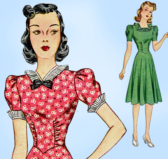 1930s Vintage Simplicity Sewing Pattern 3008 Misses Dress w Basque Waist Sz 36 B - Vintage4me2