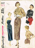 1940s Vintage Simplicity Sewing Pattern 3027 Misses Skirt Bodice & Sweater 30 B