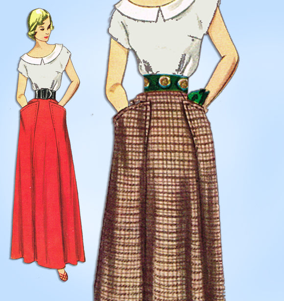 1940s Vintage Simplicity Sewing Pattern 3029 Uncut Floor Length Skirt Size 32 W