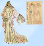 Simplicity 3043: 1930s Rare Misses Bridal Veil Sz 22 Head Vintage Sewing Pattern
