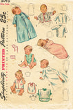 1940s Vintage Simplicity Sewing Pattern 3043 Sweet Baby Infant Layette Set ORIG