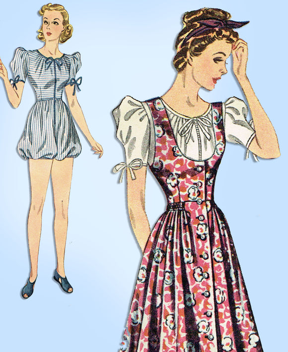 1930s Simplicity Sewing Pattern 3070 Uncut Misses Bubble Romper & Jumper Sz 33 B