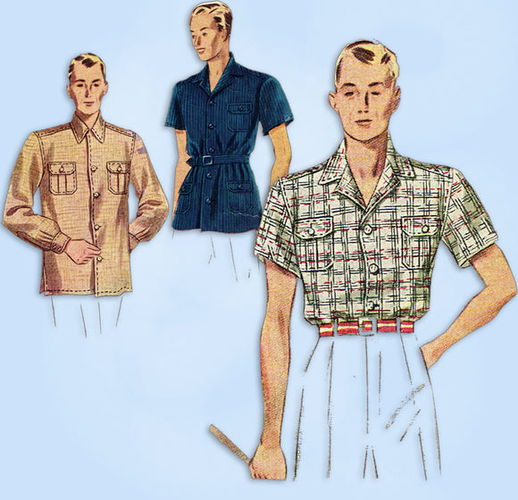 1930s ORIG Vintage Simplicity Sewing Pattern 3089 Men's Casual Shirt Size Small