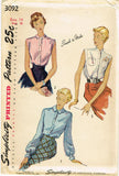1940s Vintage Simplicity Sewing Pattern 3092 Uncut Misses Easy Blouse Sz 14 32B
