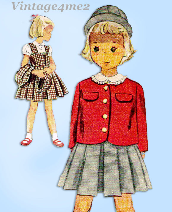 1940s Vintage Simplicity Sewing Pattern 3116 Easy Smart Toddler Girls Suit Sz 5