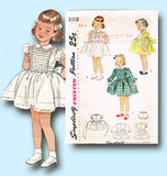 1940s Vintage Simplicity Sewing Pattern 3118 Toddler Girls Tucked Dress Size 2