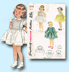 1940s Vintage Simplicity Sewing Pattern 3118 Toddler Girls Tucked Dress Size 6