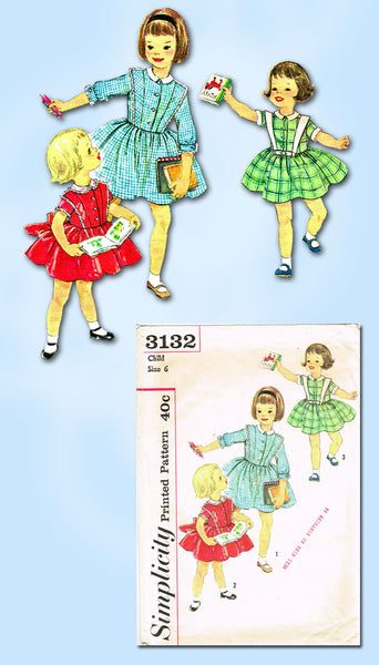 1950s Vintage Simplicity Sewing Pattern 3132 Toddler Girls Dress Size 6 24B