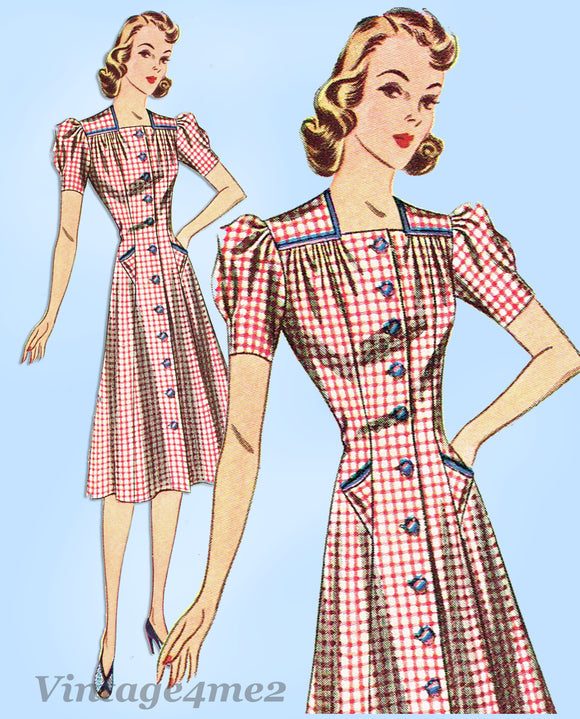 Simplicity 3142: 1940s Misses WWII Princess Dress Sz 30 B Vintage Sewing Pattern - Vintage4me2