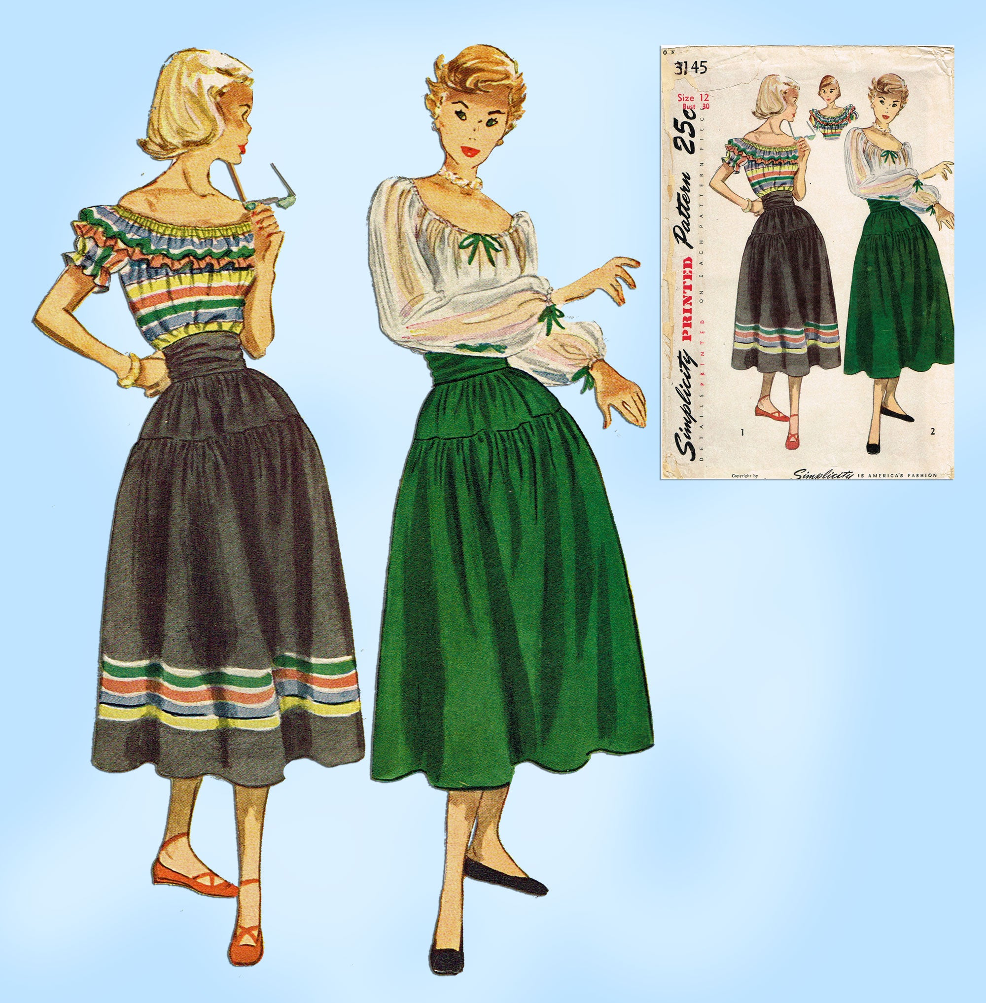 Vintage 1930/'s Simplicity 3130 Sewing Pattern Misses/' Blouse and Ruffled Skirt Size 12 Bust 30