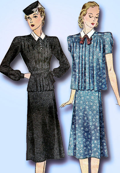 1930s Vintage Simplicity Sewing Pattern 3153 Misses 2 PC Maternity Dress Sz 32 B - Vintage4me2