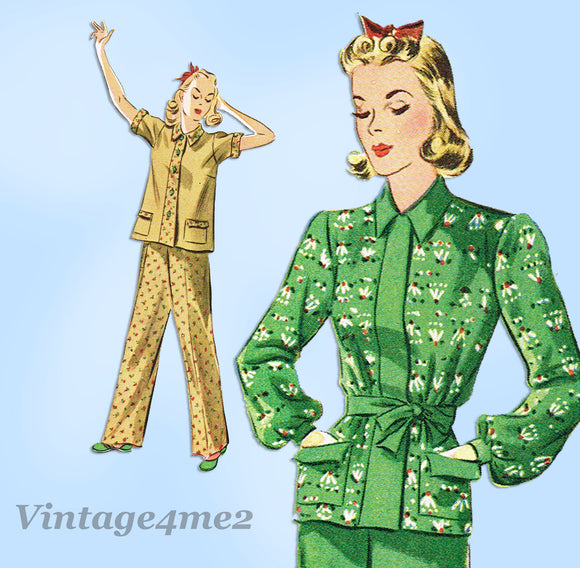 Simplicity 3156: 1940s Classic Misses 2 PC Pajamas Sz 32B Vintage Sewing Pattern