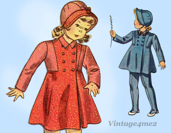 Simplicity 3169: 1930s Uncut Girls & Bonnet Sz 6 Vintage Sewing Pattern