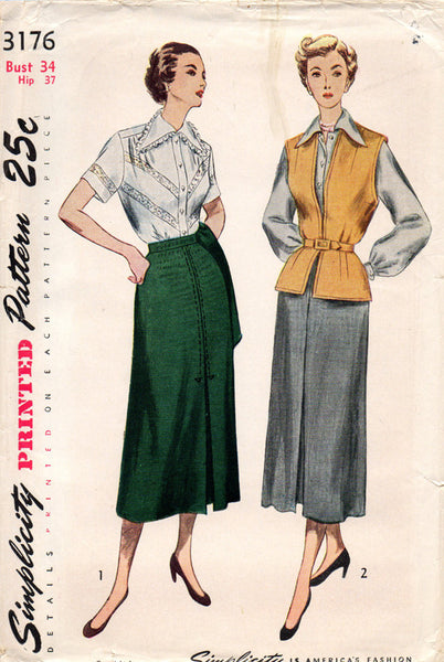1950s Misses Simplicity Sewing Pattern 3176 Uncut Misses Skirt and Blouse Sz 16
