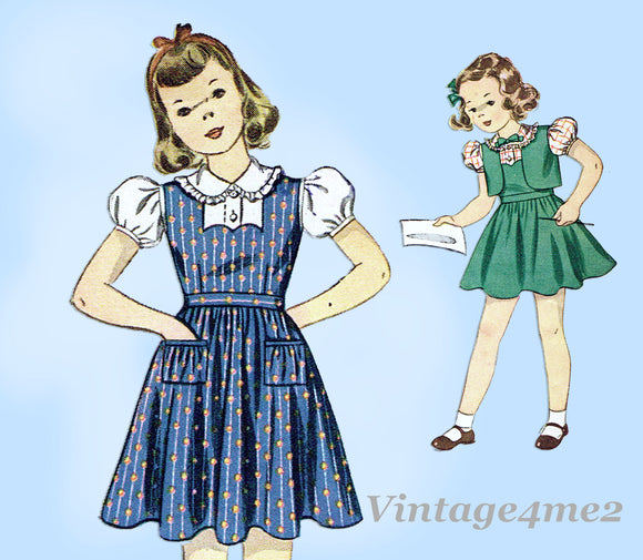 Simplicity 3177: 1930s Uncut Girls Jumper Dress Size 8 Vintage Sewing Pattern
