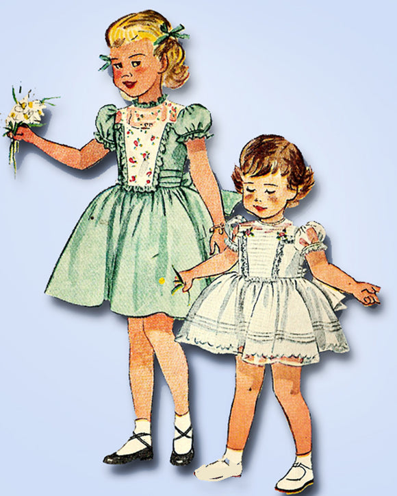1950s Vintage Simplicity Sewing Pattern 3180 Toddler Girls Tucked Dress Size 5 vintage4me2