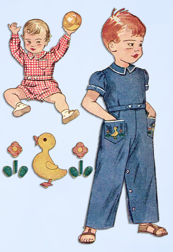1950s Vintage Simplicity Sewing Pattern 3181 Baby Boys Romper or Coveralls Sz 1 - Vintage4me2
