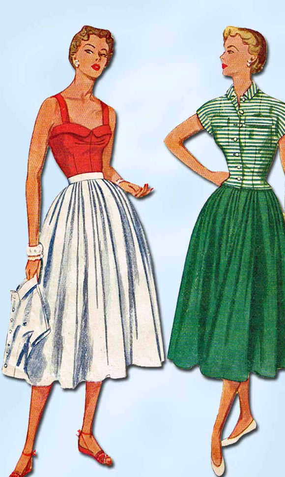 1950s Vintage Simplicity Sewing Pattern 3193 Misses Sun Dress and Jacket Size 12