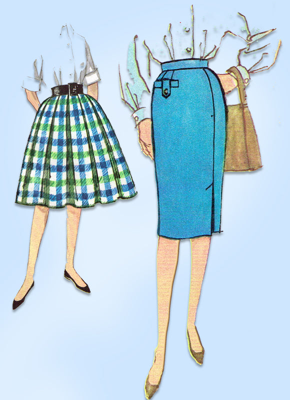 1960s Original Vintage Simplicity Pattern 3202 Sub Teen Girls Skirt Set Sz 24 W
