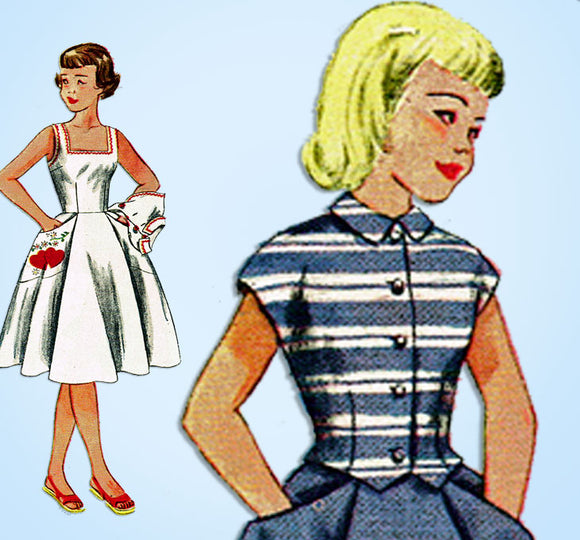 1950s Vintage Simplicity Sewing Pattern 3215 Uncut Girls Sun Dress & Jacket Sz10 - Vintage4me2