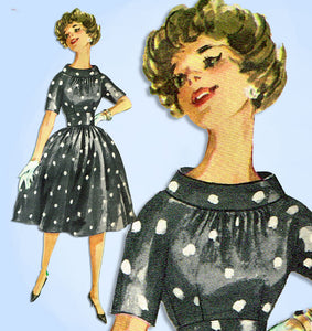 1950s Vintage Simplicity Sewing Pattern 3221 Misses Cocktail Dress Size 33 Bust - Vintage4me2