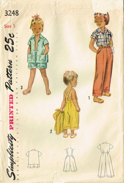 1950s Vintage Simplicity Sewing Pattern 3248 Toddler Girls Clamdigger Pants Sz 5