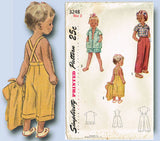 1950s Vintage Simplicity Sewing Pattern 3248 Tiny Toddlers Clamdigger Pants Sz 2