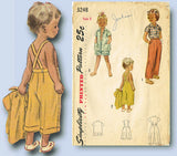 1950s Vintage Simplicity Sewing Pattern 3248 Toddlers Summer Playclothes Size 3