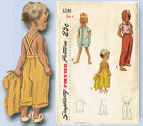 1950s Vintage Simplicity Sewing Pattern 3248 Toddler Boys Girls Playclothes Sz 4