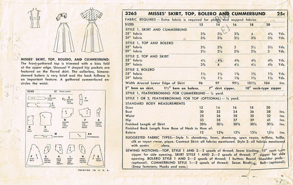1950s Vintage Simplicity Sewing Pattern 3265 Uncut Misses Sun Dress & Bolero 30B
