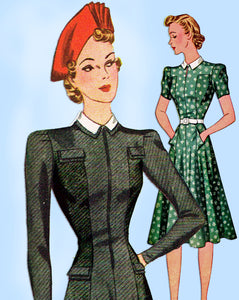 1940s Vintage Simplicity Sewing Pattern 3280 WWII Misses Princess Dress Sz 36 B - Vintage4me2
