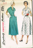 1950s Vintage Misses' Scalloped Dress Uncut Simplicity Sewing Pattern 3281 Sz 16