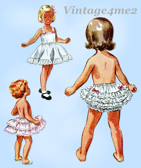 1950s Vintage Simplicity Sewing Pattern 3296 Toddler Girls Slip & Undies Set Size 6