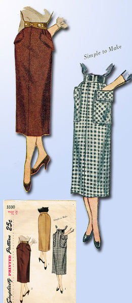 1950s Vintage Simplicity Sewing Pattern 3330 Simple to Make Misses Skirt Sz 26 W
