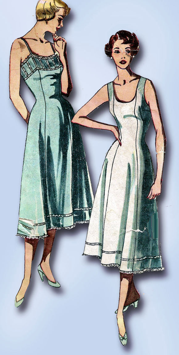1950s Vintage Simplicity Sewing Pattern 3352 Uncut Misses Simple Slip Sz 16 34B