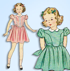 1940s Vintage Simplicity Sewing Pattern 3368 WWII Toddler Girls Party Dress Sz 4