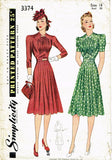 1940s Vintage Simplicity Sewing Pattern 3374 WWII Misses Afternoon Dress Sz 36B from Vintage4me2