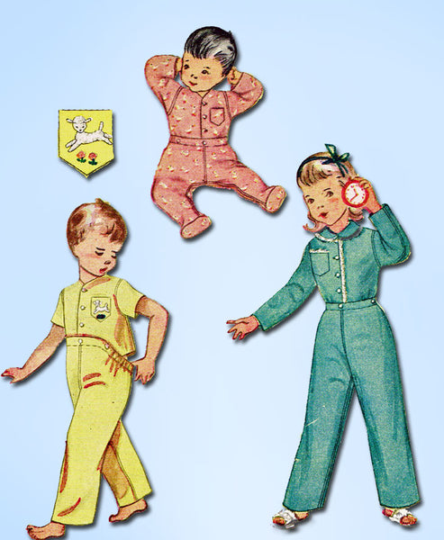 1950s Vintage Simplicity Sewing Pattern 3377 Baby Footie 2 Piece Pajamas Size 1